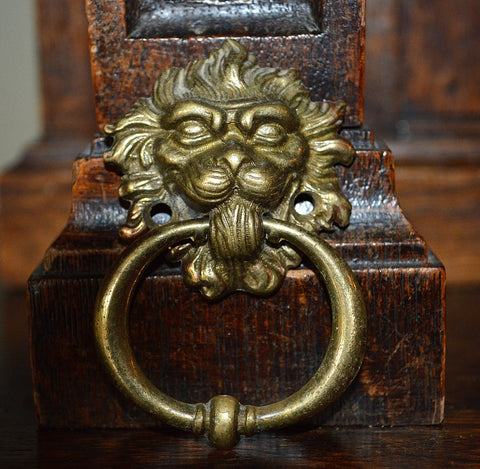 Antique Lion Head Pull French Brass Drawer Hardware - Antique Flea Finds - 1