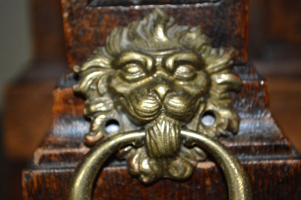 Antique Lion Head Pull French Brass Drawer Hardware - Antique Flea Finds - 2