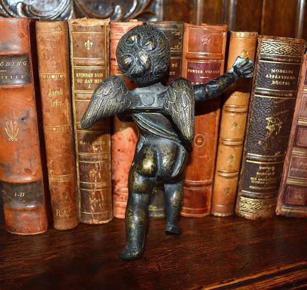 Antique Large French Heavy Solid Bronze Standing Cherub Figure Mount Hardware Stunning Find - Antique Flea Finds - 4