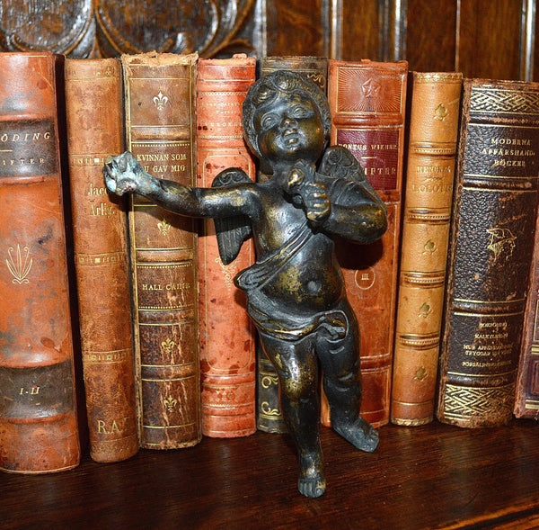 Antique Large French Heavy Solid Bronze Standing Cherub Figure Mount Hardware Stunning Find - Antique Flea Finds - 1