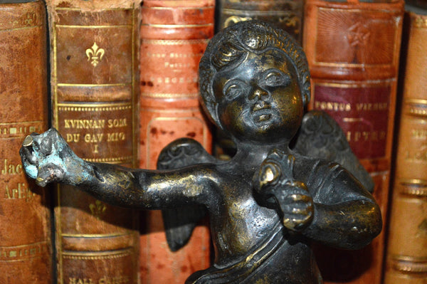 Antique Large French Heavy Solid Bronze Standing Cherub Figure Mount Hardware Stunning Find - Antique Flea Finds - 2