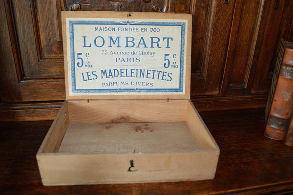 Antique Chocolate Box French Wooden Lombart Paris Chocolat Crown Laurel Wreath - Antique Flea Finds