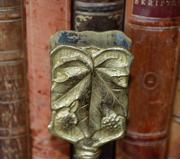 Antique French Tabletop Match Safe Ormolu Gilt Bronze Berries Leaves - Antique Flea Finds - 3
