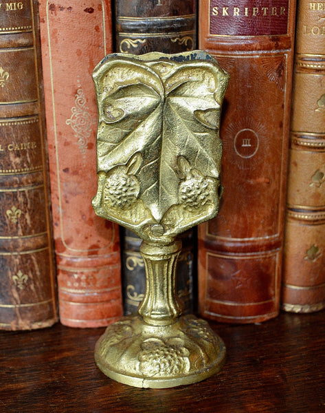 Antique French Tabletop Match Safe Ormolu Gilt Bronze Berries Leaves - Antique Flea Finds - 2