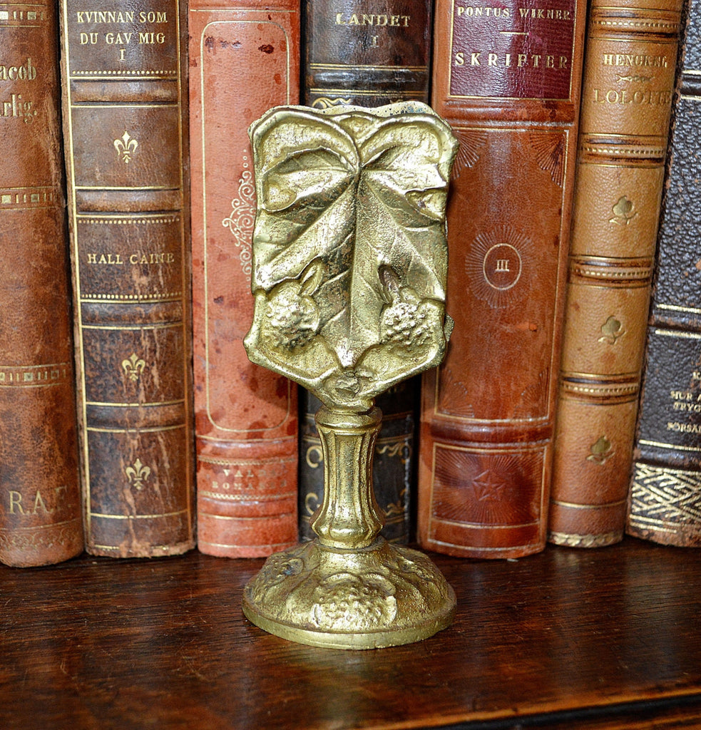 Antique French Tabletop Match Safe Ormolu Gilt Bronze Berries Leaves - Antique Flea Finds - 1