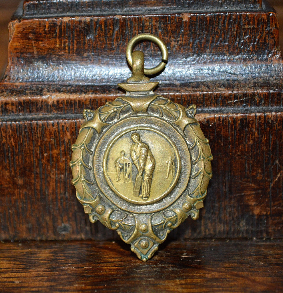 Antique Pocket Watch Fob English Bronze 1958 Cricket Medal - Antique Flea Finds - 1