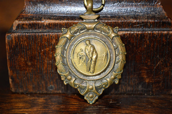Antique Pocket Watch Fob English Bronze 1958 Cricket Medal - Antique Flea Finds - 2