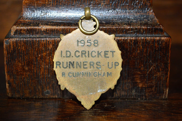 Antique Pocket Watch Fob English Bronze 1958 Cricket Medal - Antique Flea Finds - 3