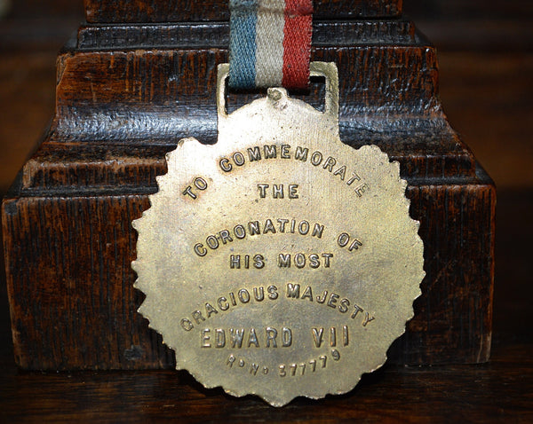 Antique English Coronation Medal for King Edward VII Crown Laurel Wreath 1902 - Antique Flea Finds