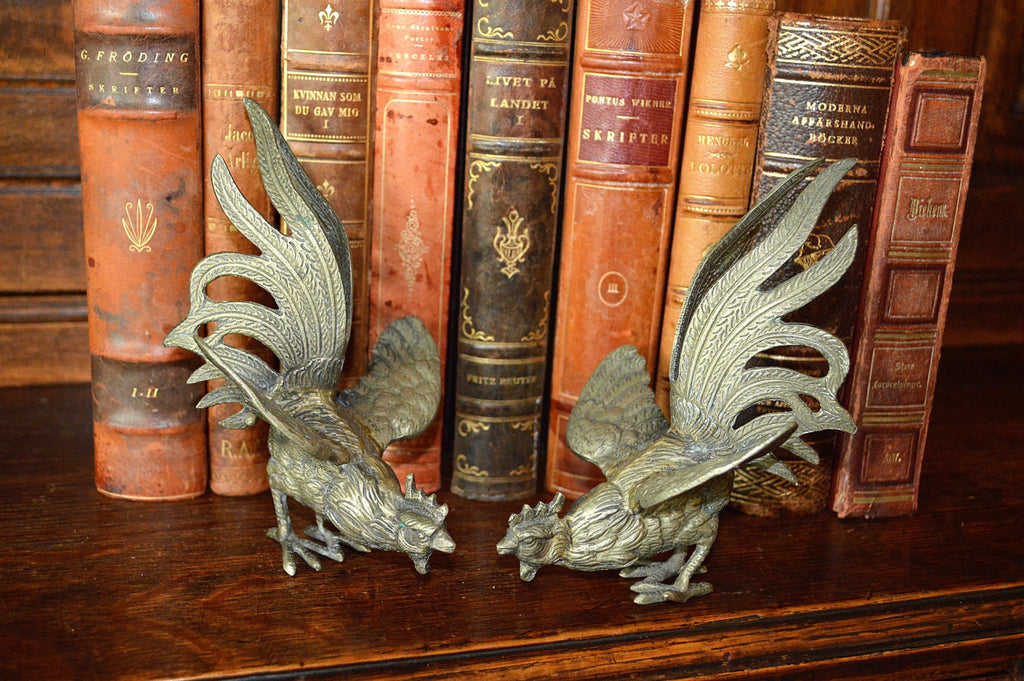 Antique Pair French Roosters Silver Plated Brass - Antique Flea Finds - 1
