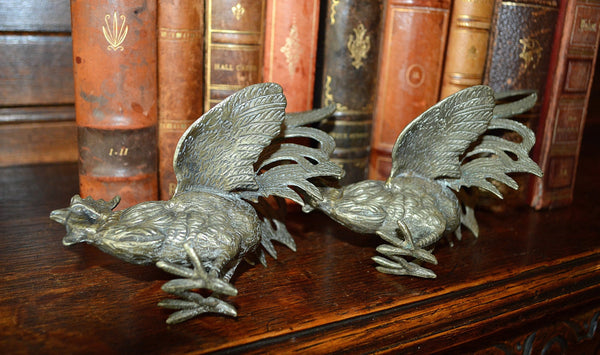 Antique Pair French Roosters Silver Plated Brass - Antique Flea Finds - 3