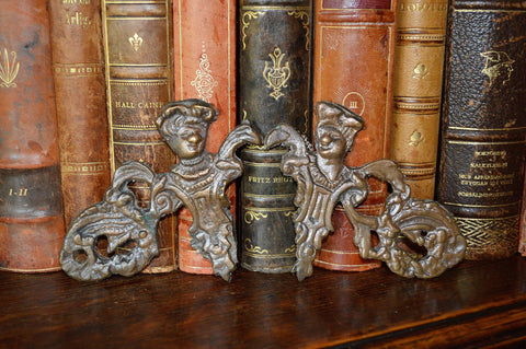 Antique Pair French Figural Mounts Renaissance Frenchman Decorations - Antique Flea Finds - 1