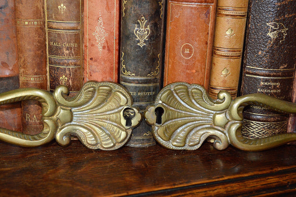 Antique Pair French Door Handles Escutcheon Shell Design Hardware - Antique Flea Finds - 3