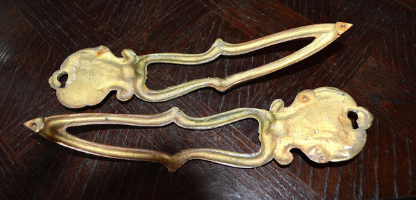 Antique Pair French Door Handles Escutcheon Shell Design Hardware - Antique Flea Finds - 5