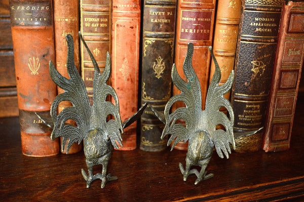 Antique Pair French Roosters Silver Plated Brass - Antique Flea Finds - 4