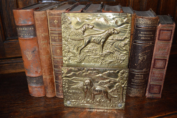 Antique Letter Holder English Brass Hanging Rack Hunt Scene - Antique Flea Finds - 1