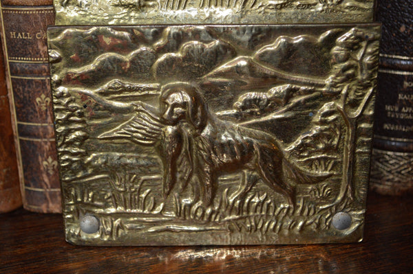 Antique Letter Holder English Brass Hanging Rack Hunt Scene - Antique Flea Finds - 3
