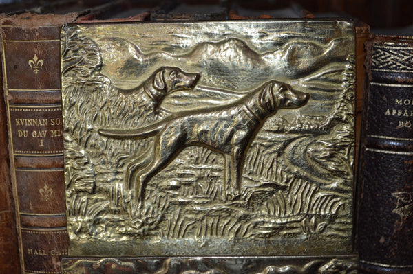 Antique Letter Holder English Brass Hanging Rack Hunt Scene - Antique Flea Finds - 2