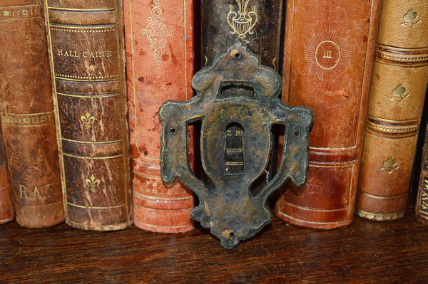 Antique French Brass Empire Escutcheon Keyhole Design with Garland Swags - Antique Flea Finds