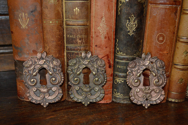 Antique French Keyhole Escutcheon Rose Pattern Hardware - Antique Flea Finds - 2