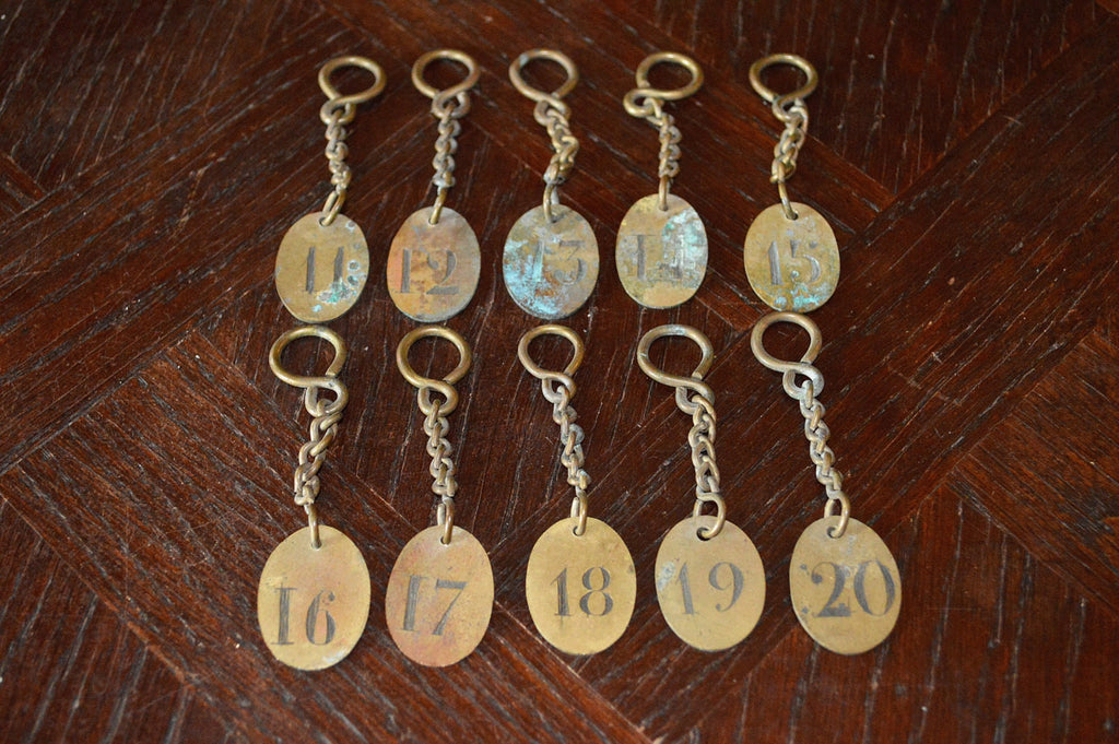 Vintage French Hotel Number Key Tag Fob with Original Key Chain Findings Choose your Favorite Number - Antique Flea Finds - 1
