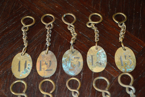 Vintage French Hotel Number Key Tag Fob with Original Key Chain Findings Choose your Favorite Number - Antique Flea Finds - 2