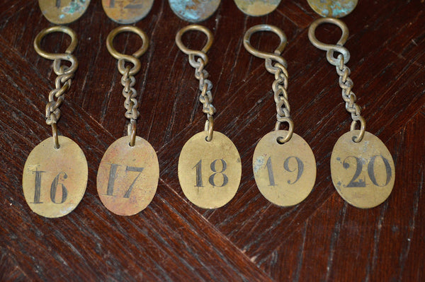 Vintage French Hotel Number Key Tag Fob with Original Key Chain Findings Choose your Favorite Number - Antique Flea Finds - 3
