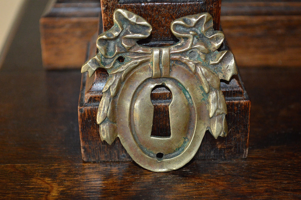 Antique Bow Escutcheon French Large Brass Keyhole Hardware - Antique Flea Finds