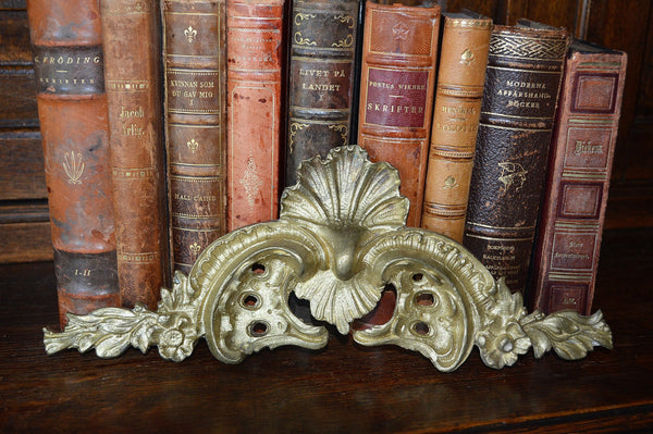 Antique French Bronze Pediment Shell Ormolu Mount Hardware - Antique Flea Finds