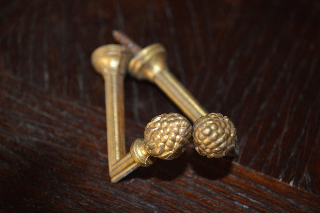 Antique Pair Tie Backs Hooks French Gilt Bronze Drapery Brackets Hardware - Antique Flea Finds - 1