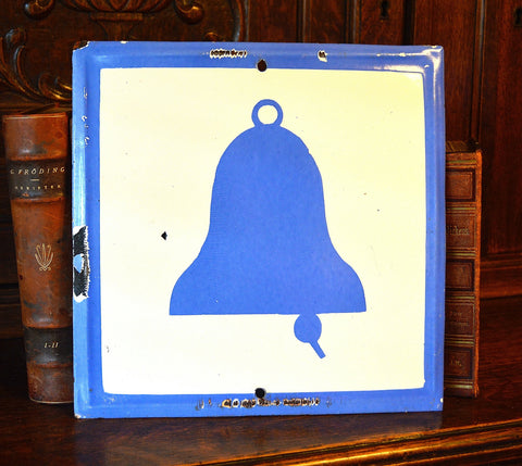 Vintage Bell Sign Blue & White Enamel Fire Alarm - Antique Flea Finds - 1