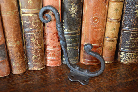 Antique French Small Cast Iron Twist Hook Hardware - Antique Flea Finds - 1