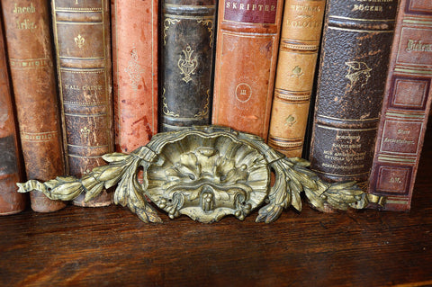 Antique Small French Pediment Bronze Ormolu Shell Design Hardware - Antique Flea Finds - 1