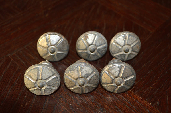 Antique Set of 6 French Knobs Silver Pewter Cabinet Hardware - Antique Flea Finds - 1