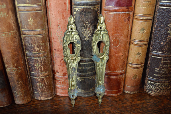 Antique Pair French Keyholes Gilt Bronze Vertical Escutcheons Hardware - Antique Flea Finds - 3