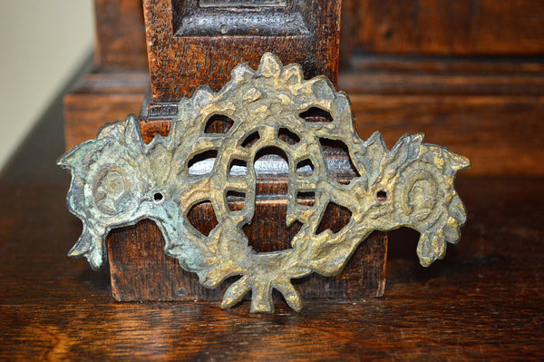 Antique French Empire Escutcheon Bronze Figural Medallions Keyhole Hardware - Antique Flea Finds - 3