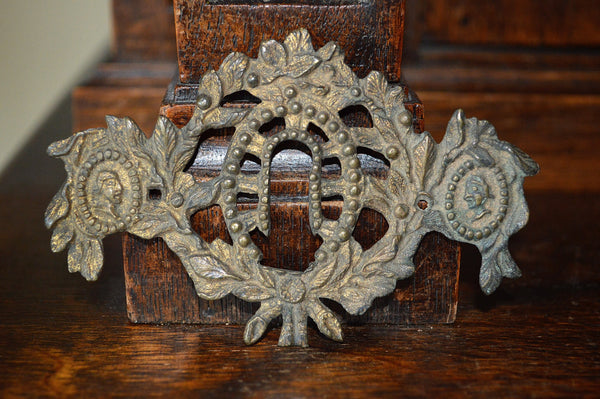 Antique French Empire Escutcheon Bronze Figural Medallions Keyhole Hardware - Antique Flea Finds - 1
