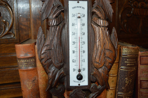 Antique French Thermometer Carved Wood Hunt Scene Dog Pheasants Black Forest Style - Antique Flea Finds - 3