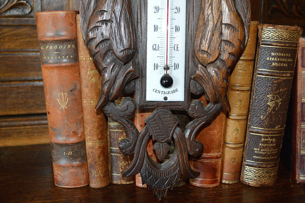 Antique French Thermometer Carved Wood Hunt Scene Dog Pheasants Black Forest Style - Antique Flea Finds - 4