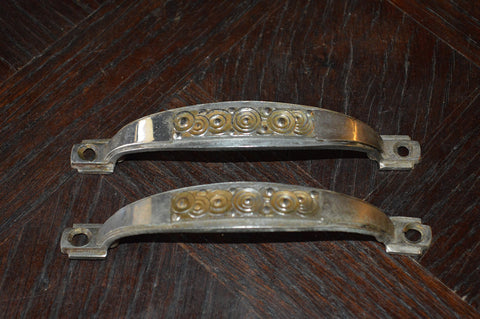 Vintage Pair French Pulls Art Deco Silver Brass Handles Hardware - Antique Flea Finds - 1