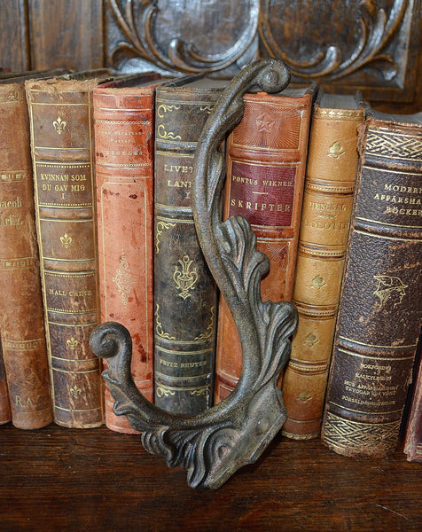 Antique French Cast Iron Large Coat Hook Hardware Shabby Chic - Antique Flea Finds - 2