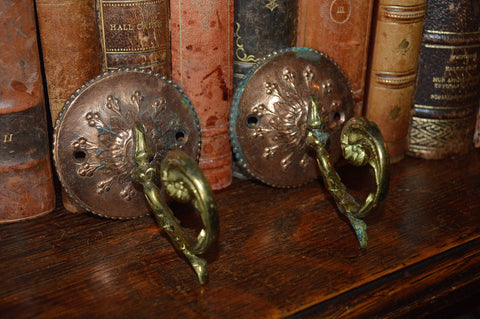Antique Pair French Hooks Bronze And Copper Decorative Hardware - Antique Flea Finds - 1