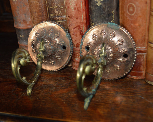 Antique Pair French Hooks Bronze And Copper Decorative Hardware - Antique Flea Finds - 2