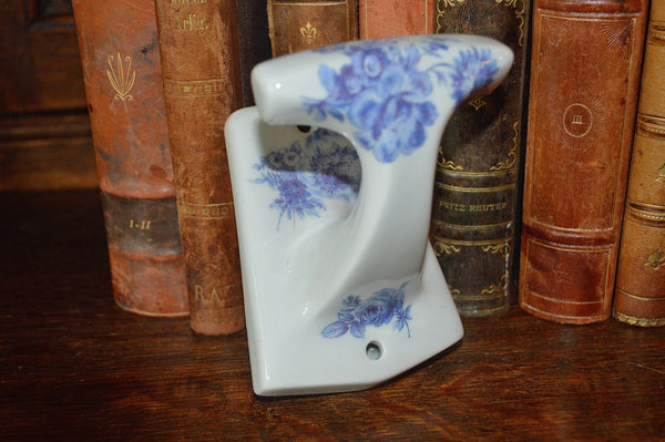Vintage French Limoges Wall Hook Blue Floral Porcelain Transferware - Antique Flea Finds - 1