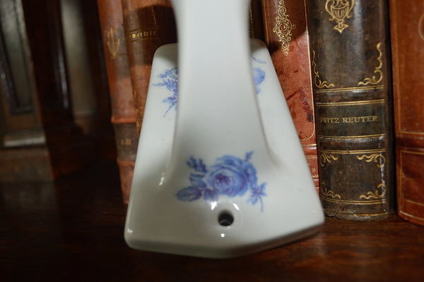 Vintage French Limoges Wall Hook Blue Floral Porcelain Transferware - Antique Flea Finds - 4