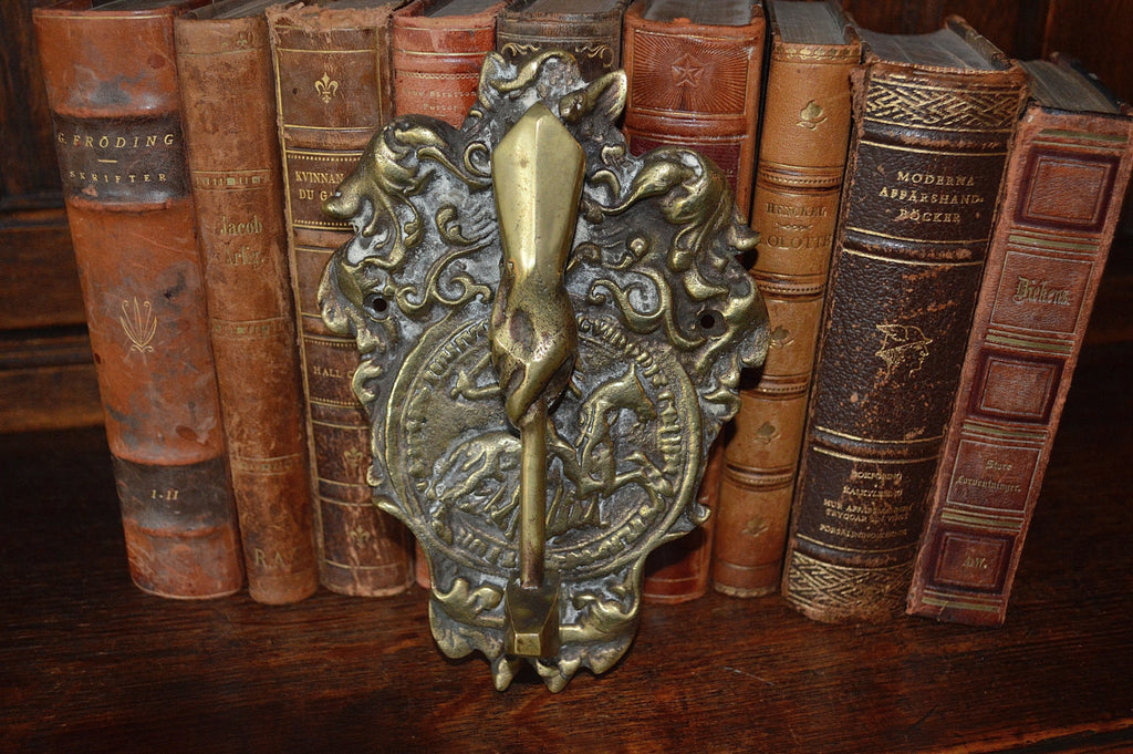 Antique Door Knocker Large Brass Knights Templar Masonic Hand And Gavel    Antique Flea Finds