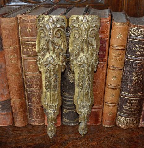 Antique Pair French Pediments Bronze Ormolu Mounts Laurel Swag Design - Antique Flea Finds - 1