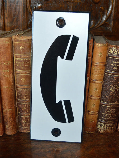 Vintage French Enamel Phone Sign Telephone Plaque In Black & White - Antique Flea Finds - 2