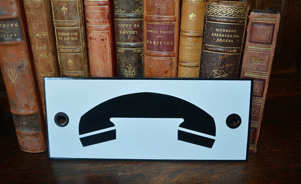 Vintage French Enamel Phone Sign Telephone Plaque In Black & White - Antique Flea Finds - 1