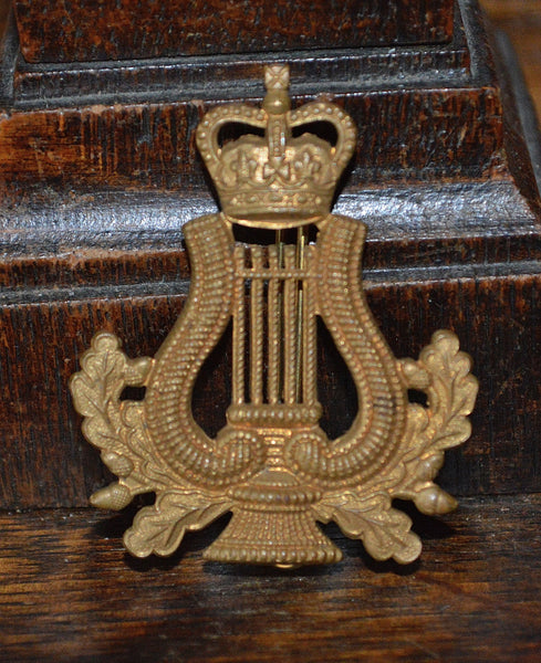 Antique Englsih Royal Army Badge Musician Lyre and Crown - Antique Flea Finds